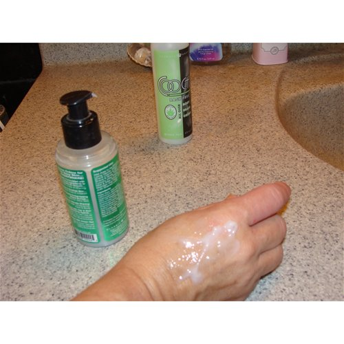 Product on skin with bottle