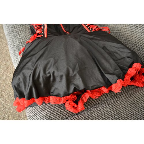 Flat with the under skirt bunched up